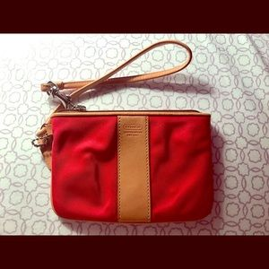 Coach wristlet red and tan so cute